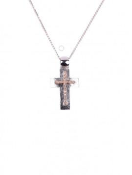 Σταυρός Δίχρωμος Λευκόχρυσο-Ροζ Χρυσο Με Ζιργκόν oro271