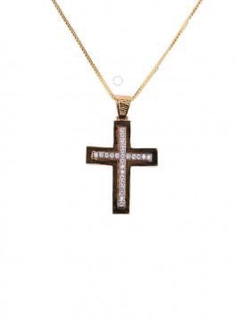 Σταυρός Χρυσός Με Λευκά Ζιργκόν oro298
