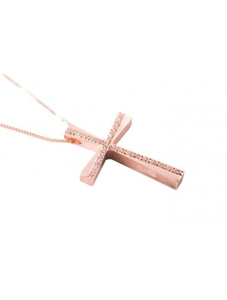 Σταυρός Triantos Ροζ Χρυσό 14 Καράτια Με Ζιργκόν oro359