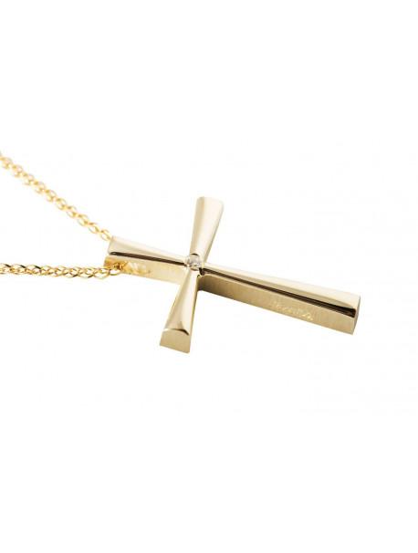 Σταυρός Triantos Χρυσός 14 Καράτια Με Ζιργκόν oro360