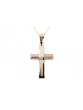 Σταυρός Triantos Χρυσός 14 Καράτια Με Ζιργκόν oro362