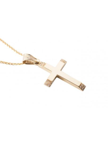 Σταυρός Triantos Χρυσός 14 Καράτια Με Ζιργκόν oro358