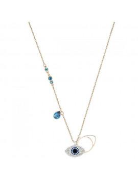 SWAROVSKI DUO:PENDANT EVIL EYE Κολιέ,επιπλατινωμένο-ροζ χρυσό με λευκές και μπλε πέτρες