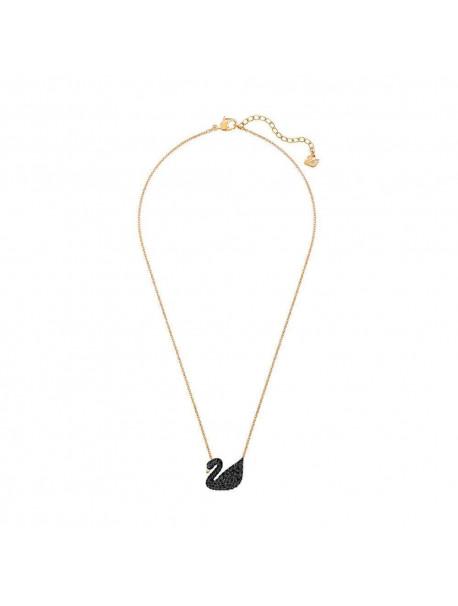 Swarovski Iconic Swan Κολιέ,Επιπλατινωμένο-Ροζ Χρυσό Με Μαύρα Κρύσταλλα 5204134