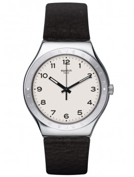 Swatch Big Will Black Leather Strap YWS101