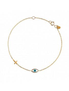 Βραχιόλι Χρυσό Μάτι-Σταυρό Than025