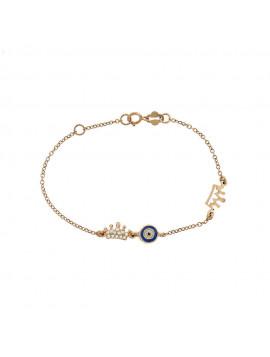 Βραχιόλι Ροζ Χρυσό Κορώνα-Μάτι Με Ζιργκόν 3ΣΟΥ.9280ΡΒ