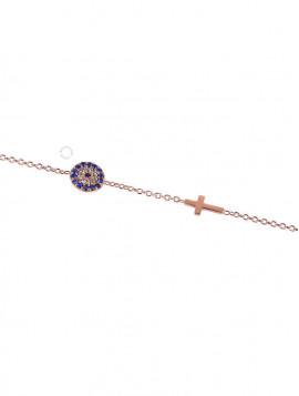 Βραχιόλι Ροζ Χρυσό Μάτι-Σταυρό Με Ζιργκόν oro246