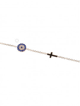 Βραχιόλι Χρυσό Μάτι-Σταυρό Με Ζιργκόν oro252