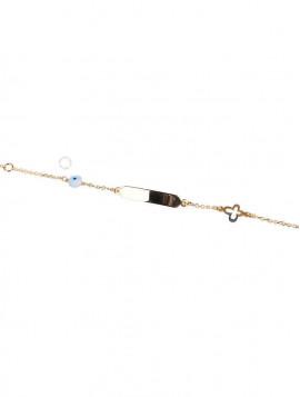Βραχιόλι Ταυτότητα Χρυσό Με Ματάκι oro259