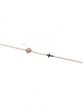 Βραχιόλι Ροζ Χρυσό Σταυρό oro255